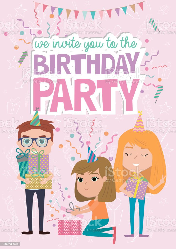 Kids Party Poster With Fun Cartoon Characters Invitation Or