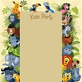 Poster with zoo animal characters