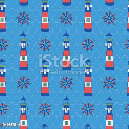 istock Kids pattern of lighthouse and shipwheel 941687514