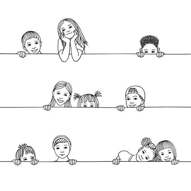 Kids peeking behind a horizontal line vector art illustration