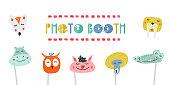 Kids photo booth props set vector illustration