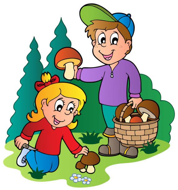 bildbanksillustrationer, clip art samt tecknat material och ikoner med kids picking up mushrooms - höst plocka svamp