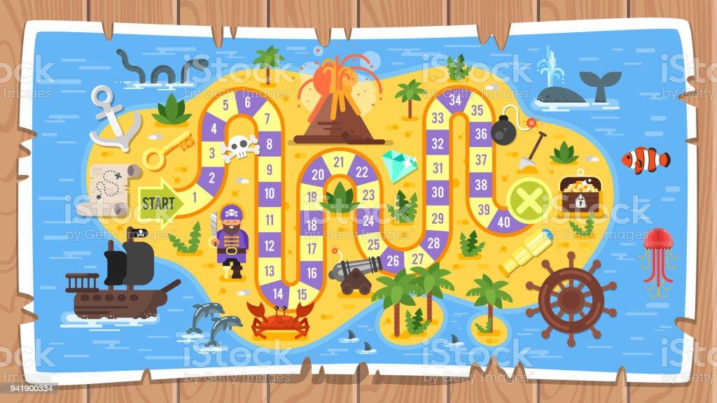Ilustración de Plantilla De Juego De Mesa De Piratas Niños y más ...