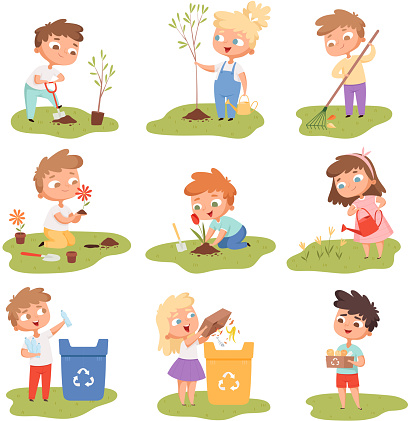 Kids planting. Happy children gardening digging picking plants eco weather protect tree vector set