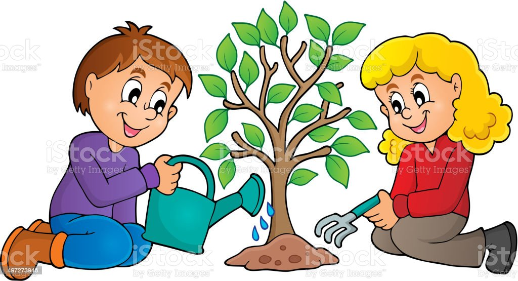royalty free drawing of the people planting trees clip art vector rh istockphoto com clipart planting trees planting clipart black and white