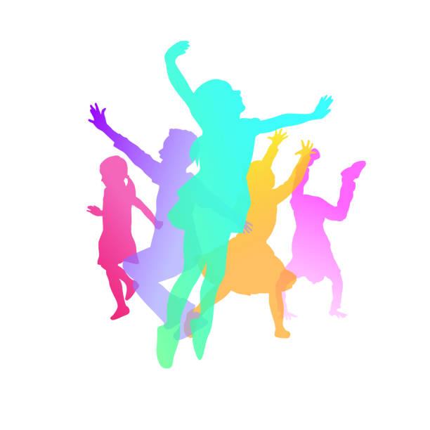 Kinder spielen Farbe Glück – Vektorgrafik