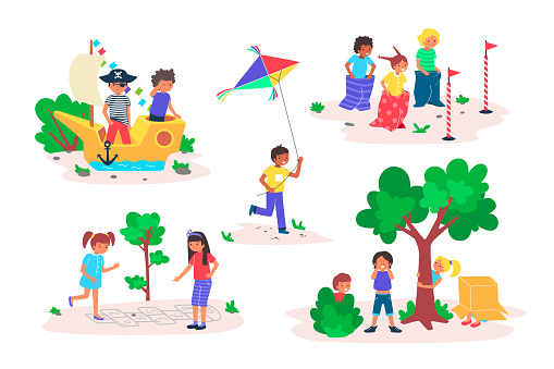 Kids play games outdoor vector illustration set, cartoon flat happy childhood playtime collection with children friends playing