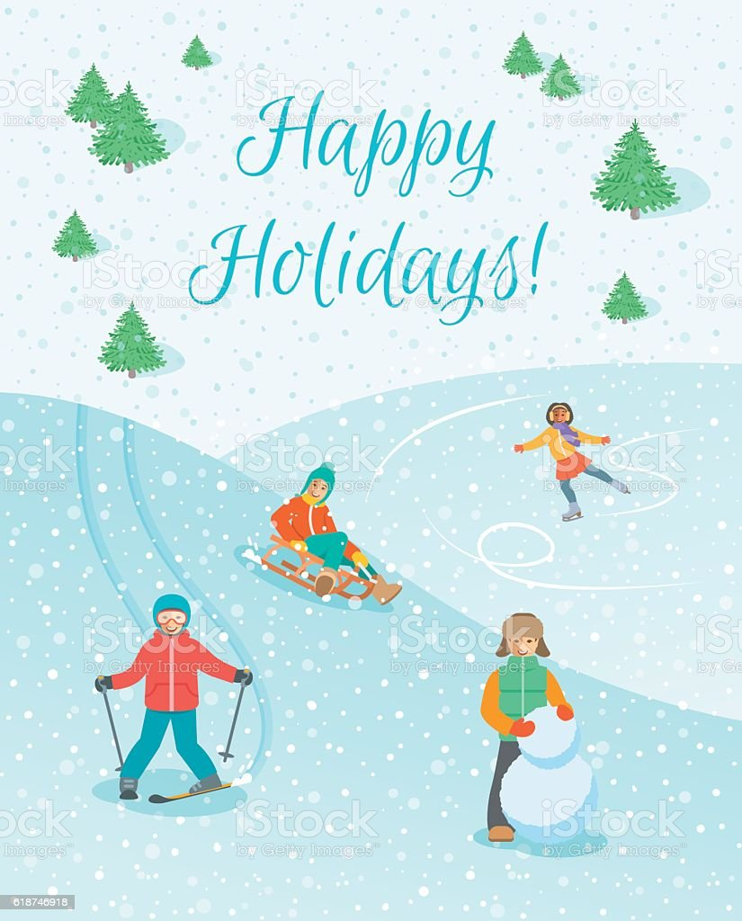 Kids Play Outdoor Winter Games Vector Background Royalty Free