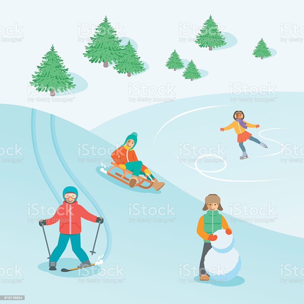 Kids play outdoor winter games vector background vector art illustration