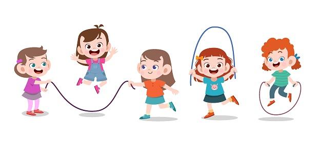 kids play together vector illustration