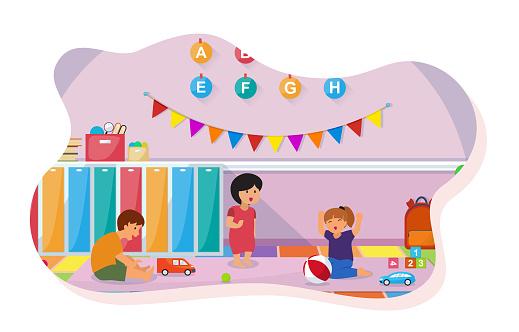 Kids Play Toys Kindergarten Classroom Interior Children School Furniture Vector Illustration