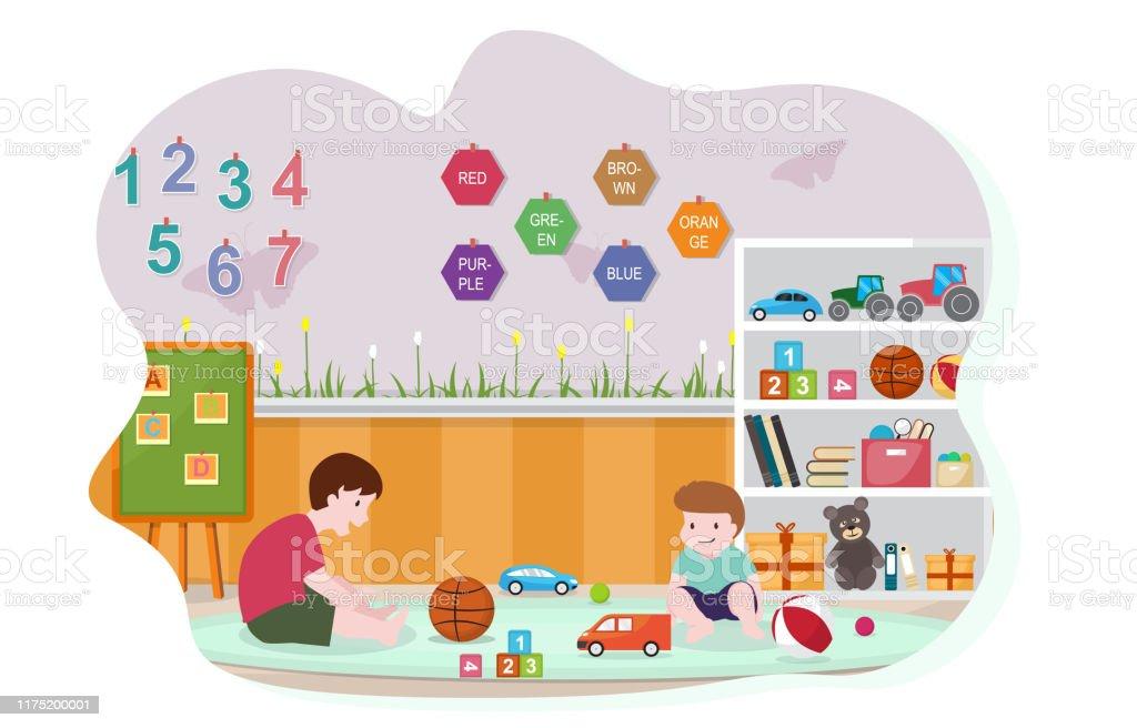 Kinder Spielen Spielzeug Kindergarten Klassenzimmer Interior
