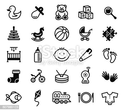 Kids Toys Silhouette Vector File Icons.