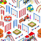 Kids Playground Background Pattern on a White Isometric View. Vector