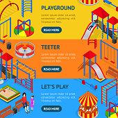 Kids Playground Banner Horizontal Set Isometric View. Vector