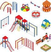 Kids Playground Elements Set Isometric View. Vector