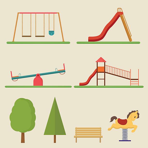ilustrações de stock, clip art, desenhos animados e ícones de elementos de parque infantil - balouço