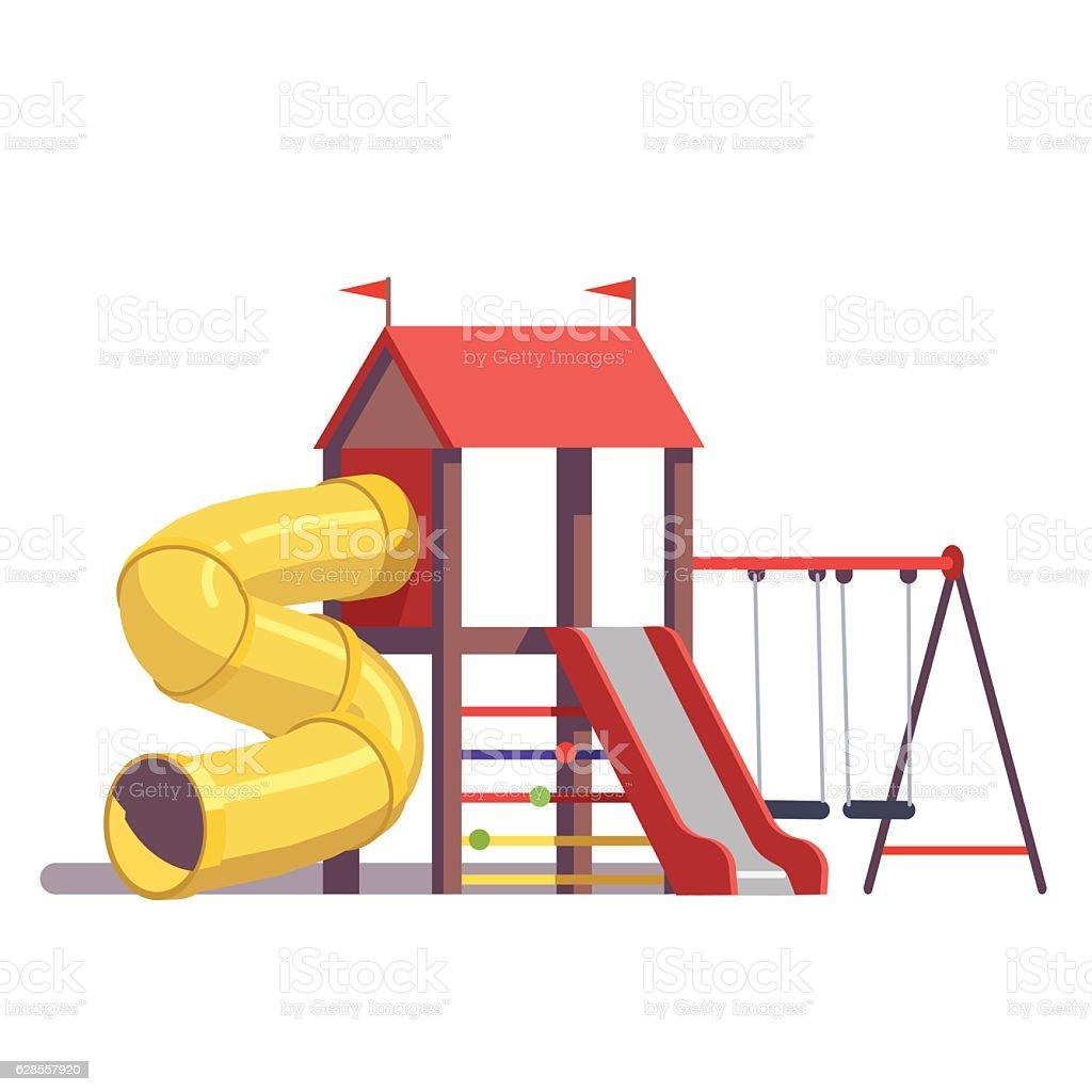 Kids playground equipment vector art illustration