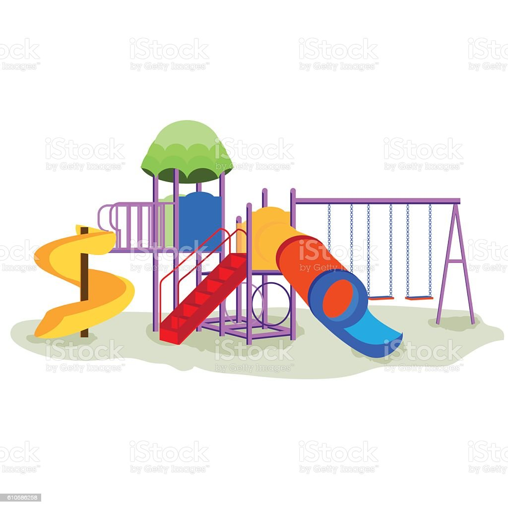 Kids playground equipment with swings. vector art illustration