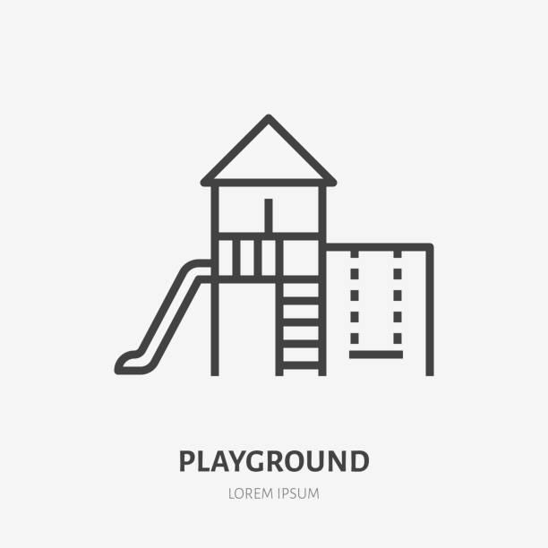 ilustrações de stock, clip art, desenhos animados e ícones de kids playground flat line icon. vector thin sign of park infrastructure, kindergarten logo. outdoor activity illustration - balouço