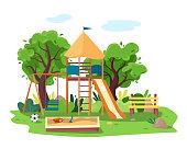 Kids playground in city park. Swings, sandbox, slide, tree and bench.