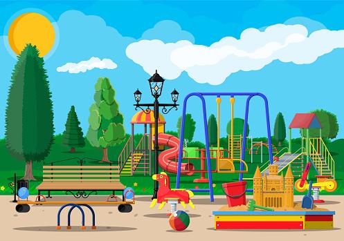 Kids playground kindergarten panorama