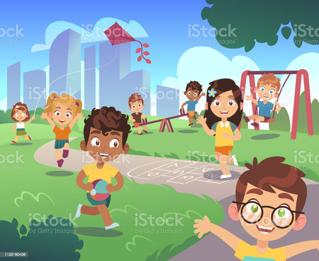 Kids Playground Play Children Nature Outdoor Preschool Kid Playing Garden Fun Activity Entertainment Cartoon Background Stock Illustration Download Image Now Istock