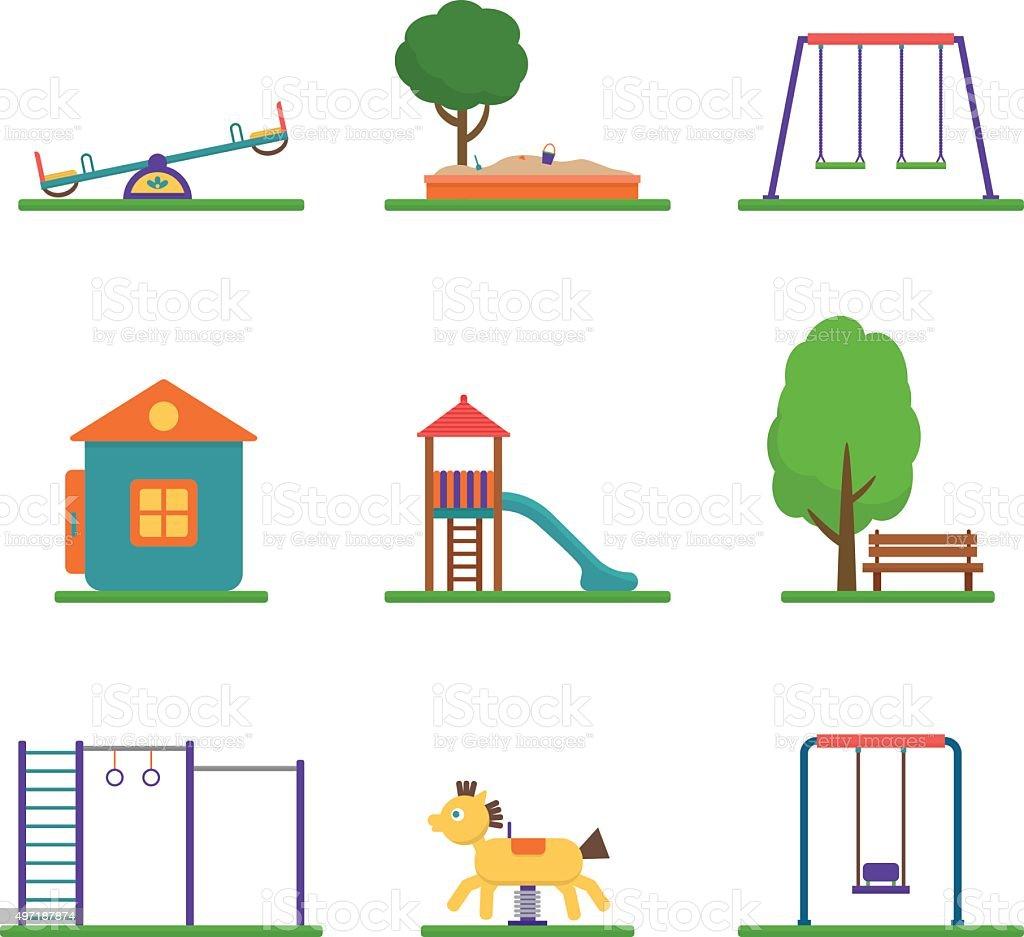 El patio de juegos para niños. - ilustración de arte vectorial