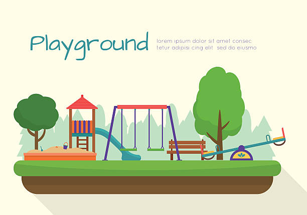 kids playground set. - recess stock illustrations, clip art, cartoons, & icons
