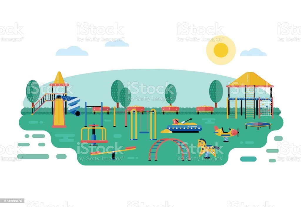 Kids playground vector landscape in flat design children play area devices on nature or urban - Garden design children s play area ...