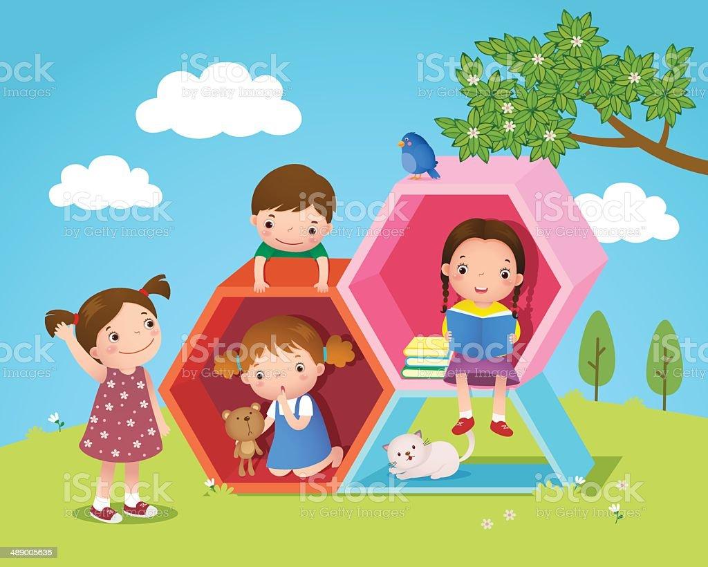 Crianças jogando e leitura com Hexágono formato no the yard - ilustração de arte em vetor