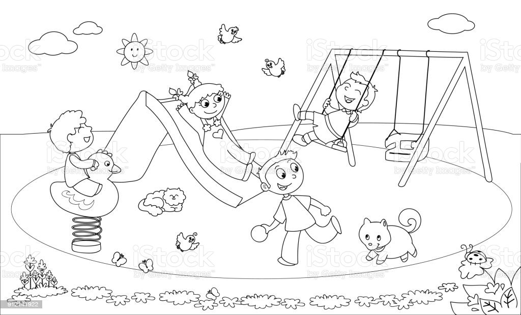 Coloring pages recess ~ Kids Playing At The Playground Coloring Vector Stock ...