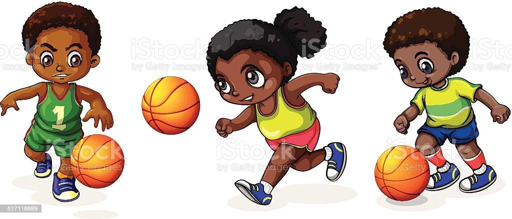Bambini Che Giocano A Basket Immagini Vettoriali Stock E Altre