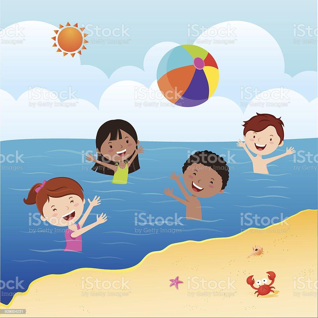 Kids playing beach ball vector art illustration