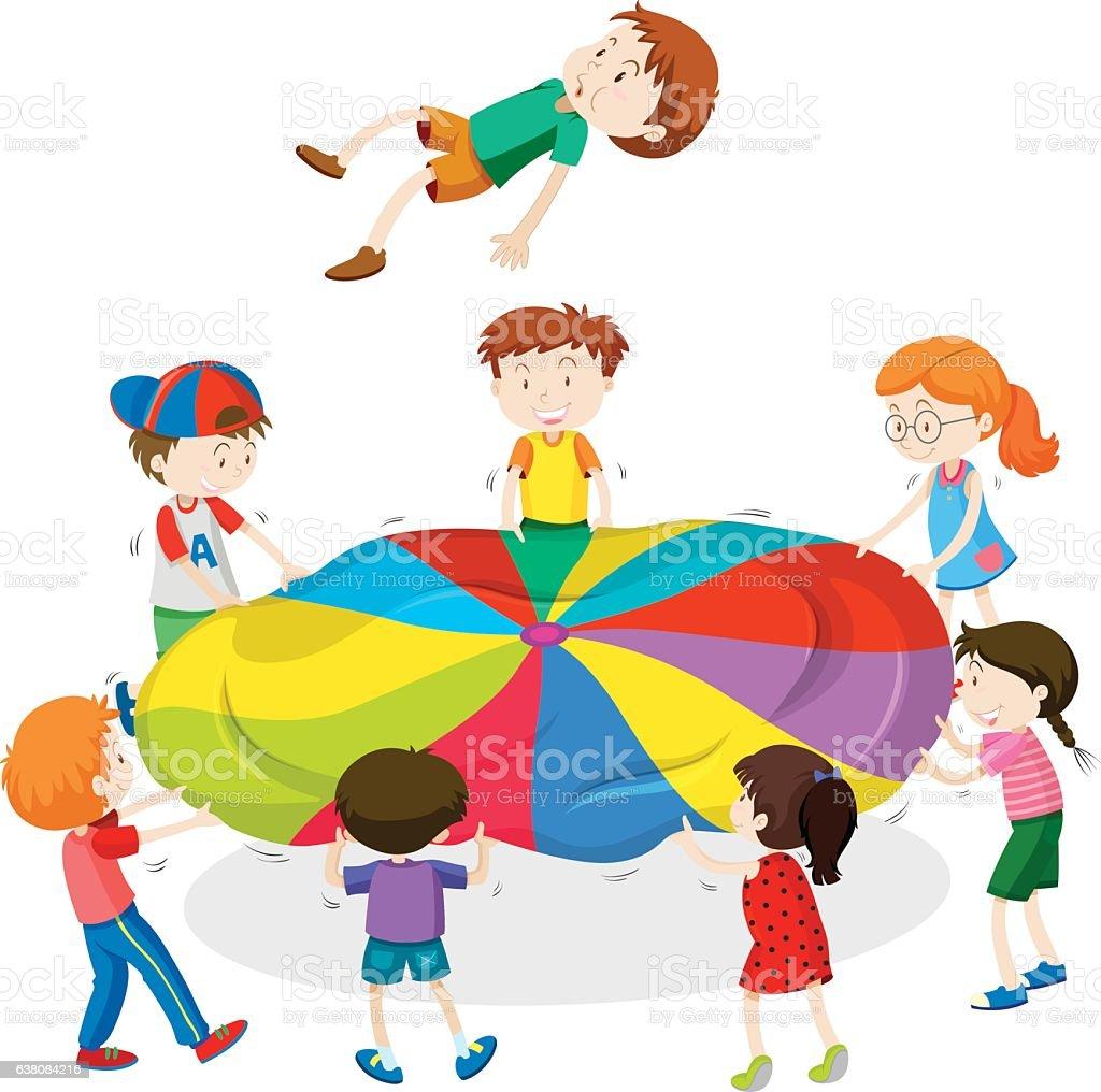 Ilustración de Niños Jugando Saltando En La Estera y más banco de ...