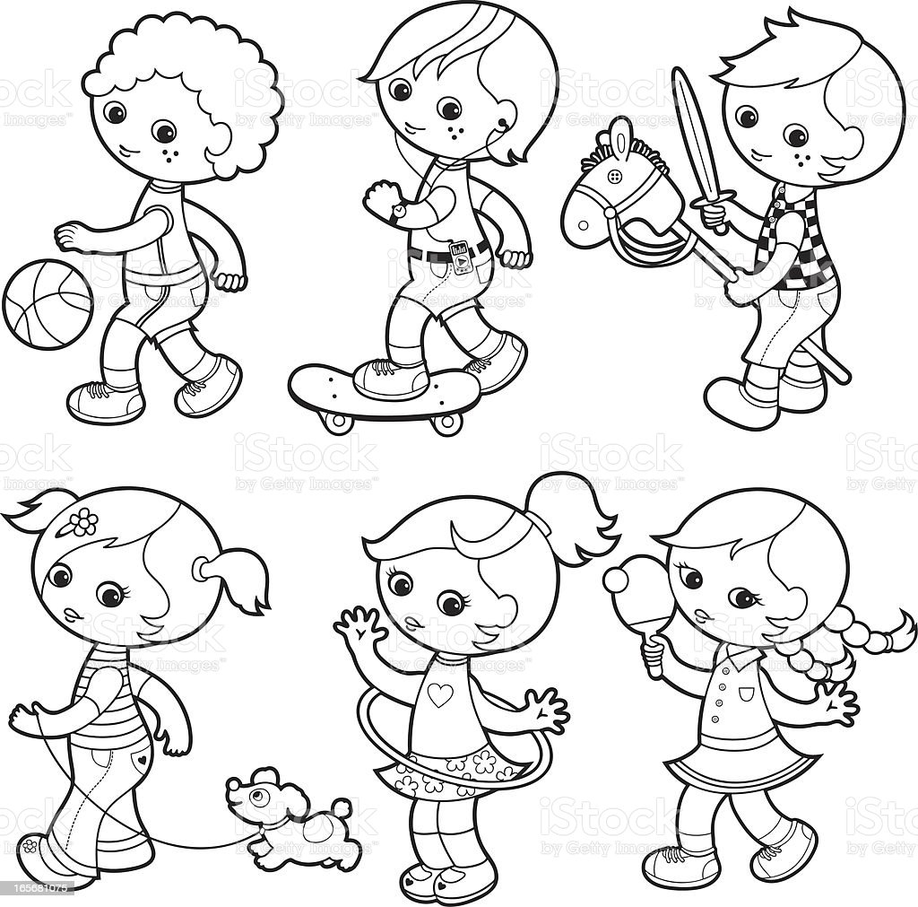 Kids playing coloring set vector art illustration
