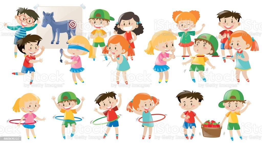 Kids playing different games royalty-free kids playing different games stock vector art & more images of art