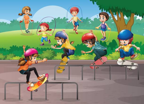 Kids Sports Background: Royalty Free Background Of Kids Play Jump Rope Clip Art