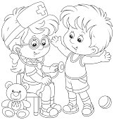 Friendly smiling girl with a toy stethoscope listening a belly of a boy, black and white vector illustration for a coloring book