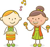 Doodle illustration: Kids playing drum and trombone