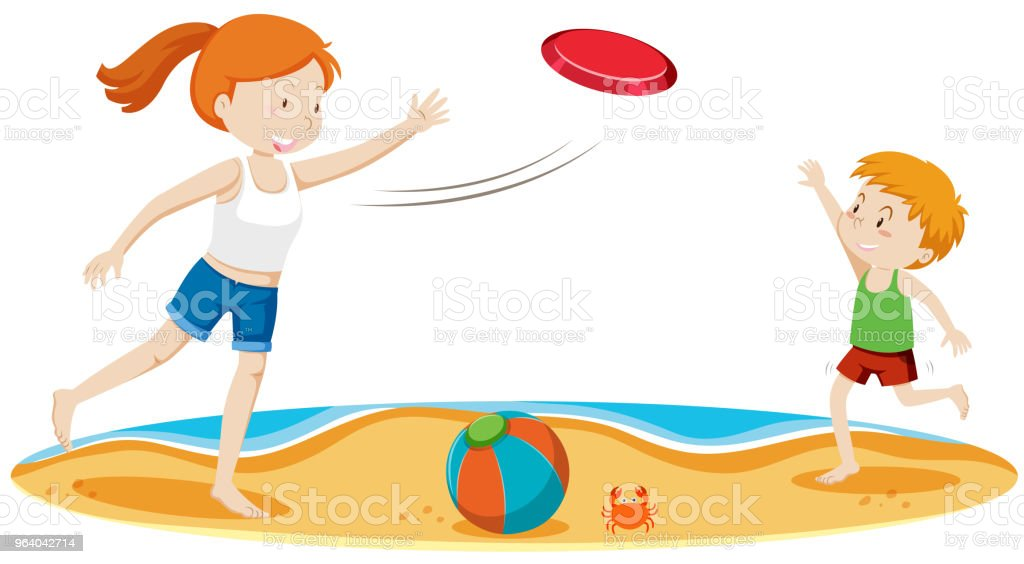 Kids Playing Frisbee at Beach - Royalty-free Activity stock vector