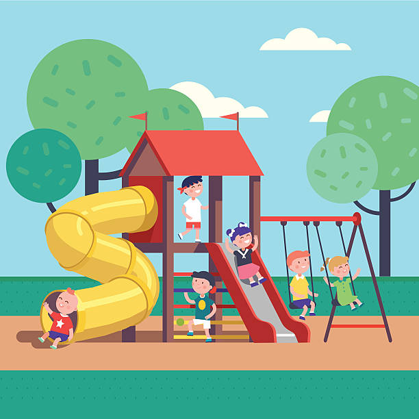 Kids playing game on a public park playground - Illustration vectorielle