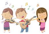 Vector kids playing guitar, violin, flute
