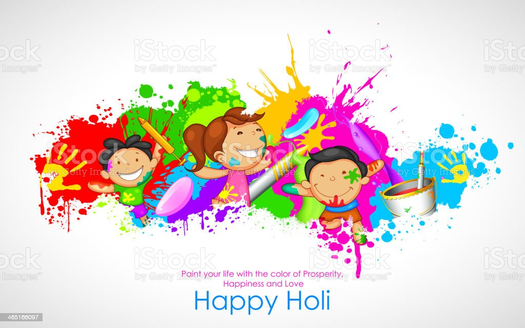 Kids playing Holi vector art illustration