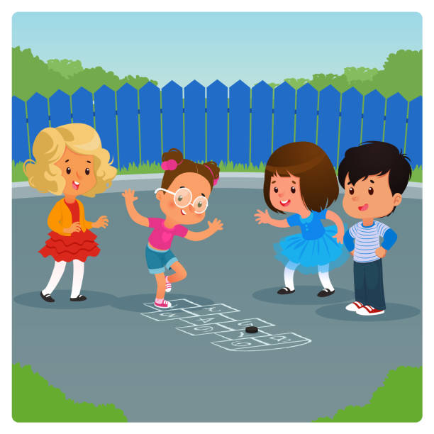 kinder spielen hopscotch spiel im freien. cartoon-vektorabbildung - himmel und hölle spiel stock-grafiken, -clipart, -cartoons und -symbole