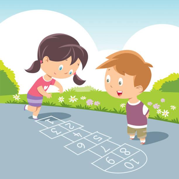 kinder spielen von himmel und hölle - himmel und hölle spiel stock-grafiken, -clipart, -cartoons und -symbole