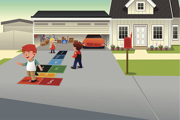 Kids playing hopscotch A vector illustration of kids playing hopscotch on the driveway of a suburban house driveway stock illustrations