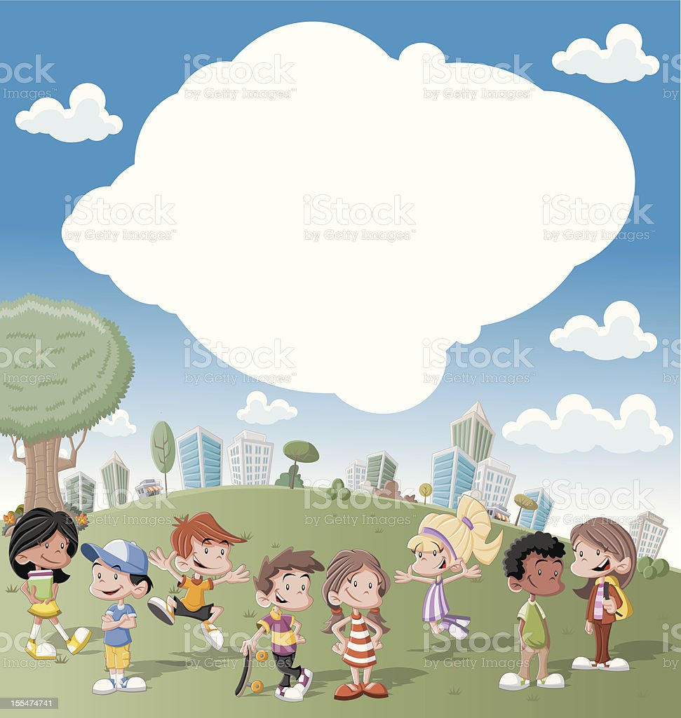 kids playing in green park vector art illustration