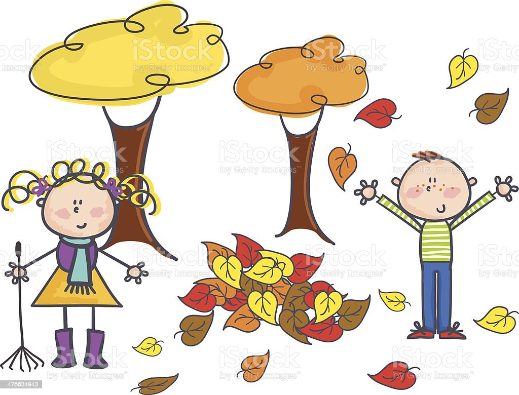 Kids playing in leaves royalty-free stock vector art