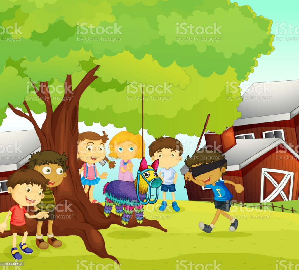 Kids playing in nature royalty-free stock vector art